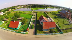 Aerial view of Belarusian countryside Stock Footage