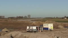 Site preparation for a new dike Room for the River Stock Footage