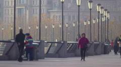 People walking along The Bund in Shanghai Stock Footage