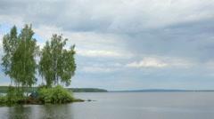 Movement of clouds over the Beloyarsk reservoir. Beloyarsk, Sverdlovsk region Stock Footage