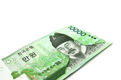 Korean Won currency bills isolated on white background. - stock photo