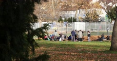 Stock Video Footage of Refugee People In Park 4k