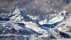 Gornergrat by the Mountains with Background Clouds in Time Lapse During Snow S Stock Footage
