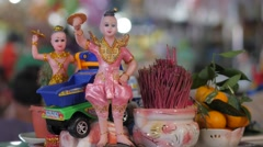 Small shrine at market stall,Siem Reap,Cambodia Stock Footage