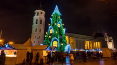 Christmas tree on Cathedral Square in Vilnius, Lithuania, 4K time-lapse - stock footage