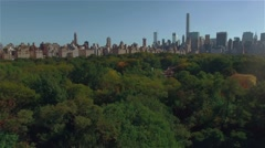 Aerial shot of New York Central Park. Camera moves left. Stock Footage