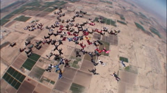 Skydiving large group formation - stock footage