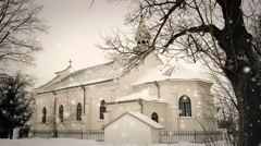 White Lublin Church During a Snow Storm Kosciol Klublin Stock Footage