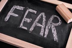 Word Fear on chalkboard - stock photo