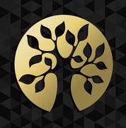 Life tree concept gold badge icon symbol - stock illustration