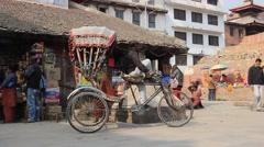 Riksha on Durbar Square in Kathmandu Stock Footage