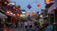 Tourists walking in nightlife area,Siem Reap,Cambodia Stock Footage