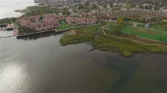 Aerial view of Staten Island. Camera moving up. Town Panorama. Stock Footage