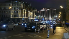 Christmas street in the center of Moscow in December 2015 Stock Footage