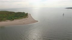 Aerial view of Staten Island. Camera moving over Crooke's Point, land seen. Stock Footage