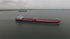 Aerial view of a barge in a New York harbour. Stock Footage