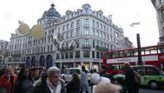 Regent Street crowds, London, England, Europe pan - stock footage