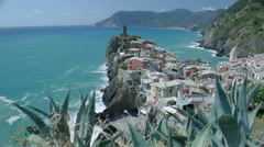Stock Video Footage of Vernazza Beyond Cactuses - 29,97FPS NTSC