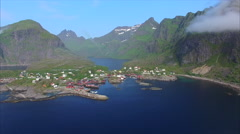 Aerial view of village on Lofoten islands in Norway. Stock Footage