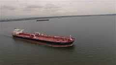 Aerial view of a barge in a New York harbour. Transportation.. Stock Footage
