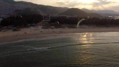 Kite surfers at Sunset - stock footage