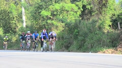 Thai people biking bicycle in race at Khao Yai Stock Footage