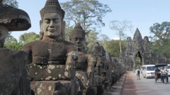 South gate bridge with statues and traffic,Siem Reap,Cambodia Stock Footage