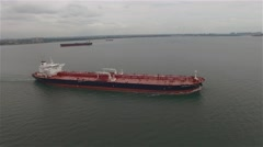 Aerial view of a barge in a New York harbour. Camera moving along the barge. Stock Footage