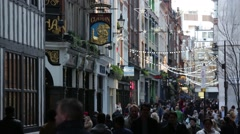 English pubs and crowds in London, England, Europe Stock Footage