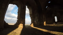 Clouds in sky, view window from old ruined church. Stock Footage