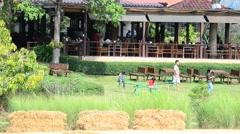 Thai children playing in garden Stock Footage
