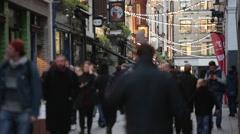 London Crowds in soho establishing shot, England, Europe - stock footage