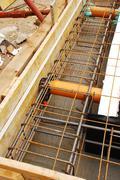 Foundation Works Showing Radon Ventilation Pipes - stock photo