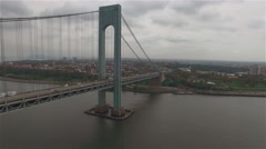 Aerial view of Verrazano–Narrows Bridge. Camera moving backward the bridge. Stock Footage