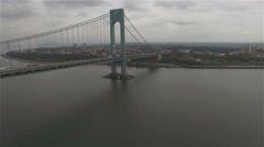 Aerial view of Verrazano–Narrows Bridge. Camera moving towards Brooklyn. Stock Footage