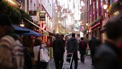 London Crowds Establishing shot, Soho, England, Europe - stock footage