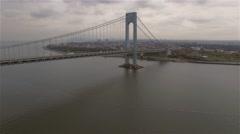 Aerial view of Verrazano–Narrows Bridge. Camera freezes. New York Harbor. Stock Footage