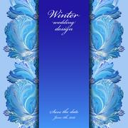 Winter frozen glass background. Stripe border design. Text place. - stock illustration