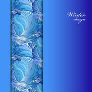 Stock Illustration of Winter frozen glass background. Stripe border design. Text place.