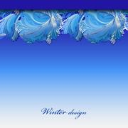 Winter frozen glass background. Blue hoarfrost border stripe design. - stock illustration