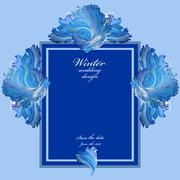 Winter frozen glass background. Blue wedding frame design. Text place. - stock illustration