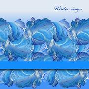 Horizontal stripe border design. Winter frozen glass background. Text place. - stock illustration