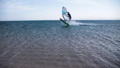 Very fast wind surfer near the Beach Stock Footage