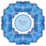 Winter frozen glass frame. Blue wedding frame  background. Vector illustration. - stock illustration