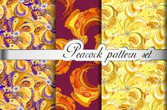 Gold orange peacock feathers abstract seamless patterns set, vector illustration - stock illustration