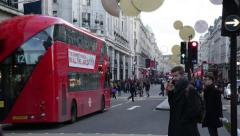 Red busses in London: Regent street traffic Stock Footage