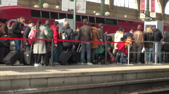 France, Paris, cue, scanned, safety, Thalys - stock footage
