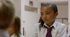 Girls paying attention in classroom Stock Footage