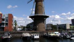 Exterior of the old windmill at Delfshaven in Rotterdam, Netherlands. - stock footage