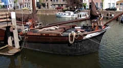 View to the old boat at Delfshaven in Rotterdam, Netherlands. Stock Footage